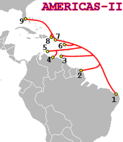 Americas-II Cable Route