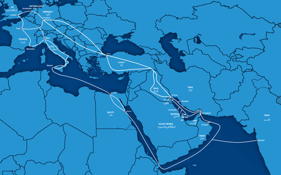 GBI cable to Europe through terrestrial cable routes via Iraq and Turkey