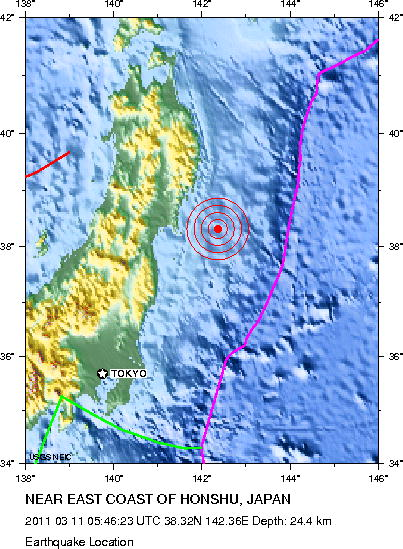 Magnitue 8.9 Earthquake Near East Coast of Honshu, Japan