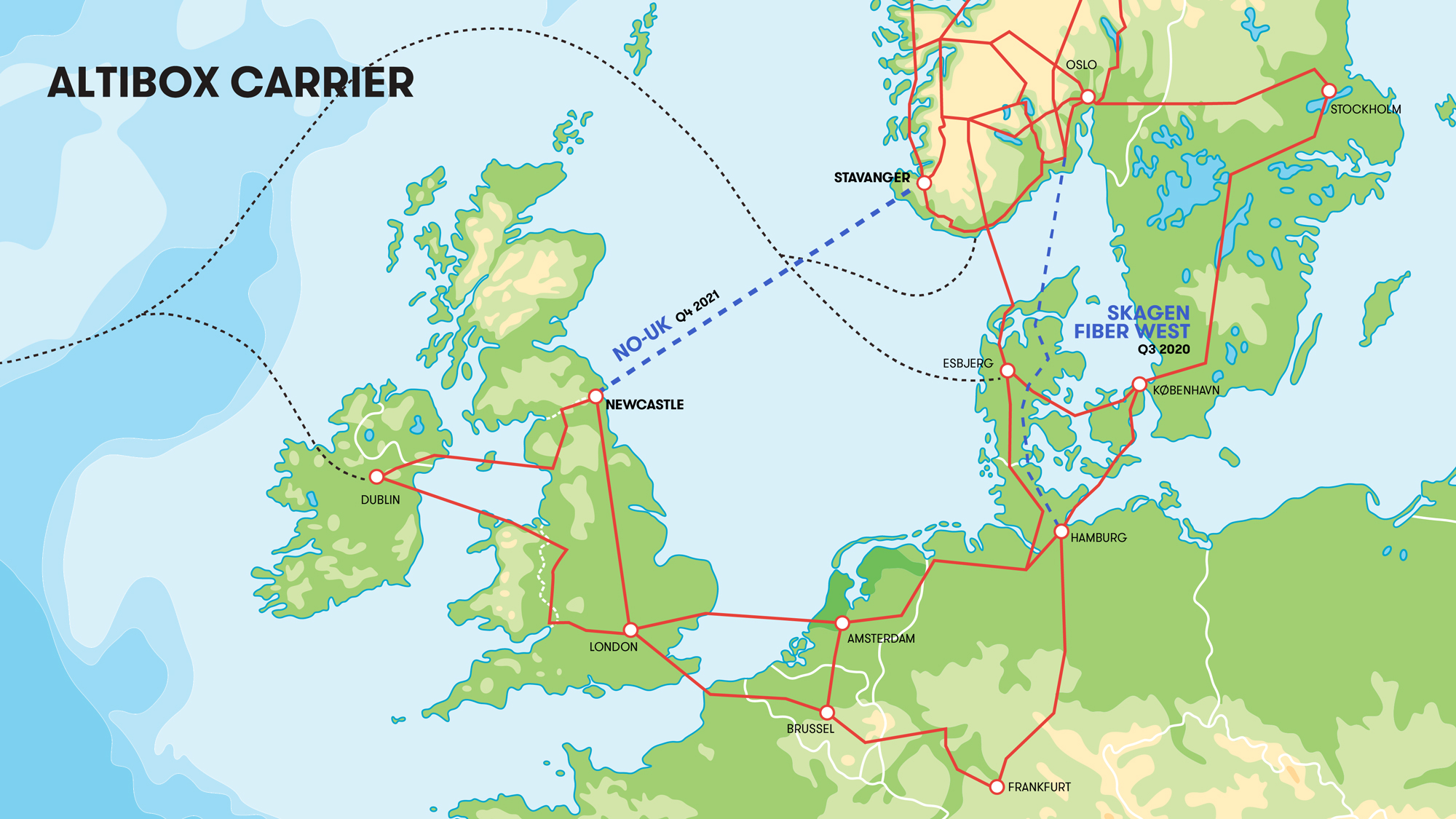 Altibox Carrier's fiber network across Europe