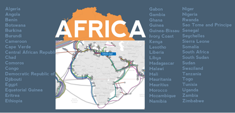 Subsea cables landing in Africa